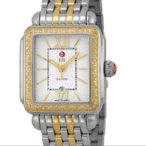 MICHELE  Deco Diamond Guilloche Two-Tone Watch